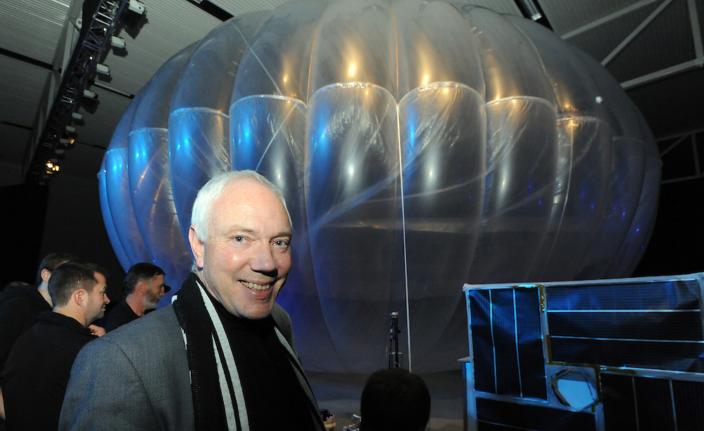 Christchurch Mayor Bob Parker at the launch of Google X's Project Loon which will see balloons floating in the sratosphere as a network of internet antenna across the world providing a internet service to every corner of the earth, Wigram Air Museum, Christchurch, New Zealand, Saturday, June 15, 2013. Credit:SNPA / Ross Setford
