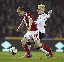 Middlesbrough's Grant Leadbitter and Derby County's Will Hughes - Photo mandatory by-line: Robbie Stephenson/JMP - Mobile: 07966 386802 - 17/03/2015 - SPORT - Football - Derby - iPro Stadium - Derby County v Middlesbrough - Sky Bet Championship