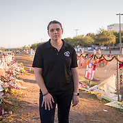 MARCH 22, 2018--PARKLAND, FLORIDA<br /> Melissa Falkowski, a journalism teacher at Marjorie Stoneman Douglass High School in Parkland, Florida, photographed near an impromptu memorial in front of the school following the events of February 14, 2018, when a former student opened fired in the school killing 17 people including students and staff. Falkowski safely hid several students in a locked classroom closet.<br /> (PHOTO BY ANGELVALENTIN/FREELANCE)