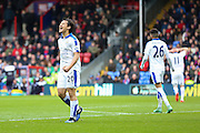 Leicester City forward Shinji Okazaki (20) misses and shows his frustration during the Barclays Premier League match between Crystal Palace and Leicester City at Selhurst Park, London, England on 19 March 2016. Photo by Phil Duncan.