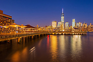 Jersey City Waterfront, Lower Manhattan Skyline, NYC< NY
