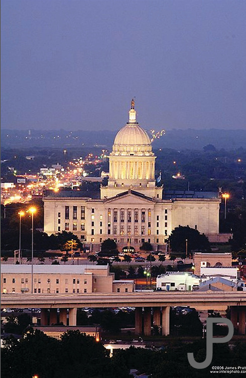 View of the Oklahoma State Capitol at sunset.