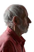 side view portrait of senior man