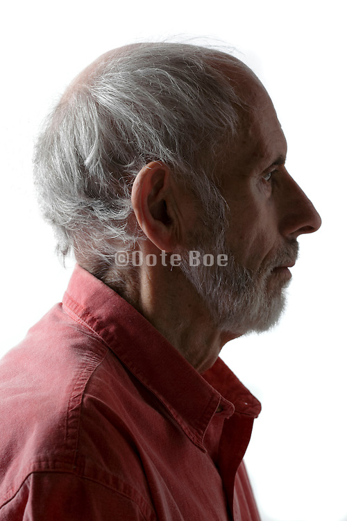 side view portrait of senior man