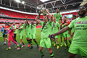 Forest Green Rovers Christian Doidge(9) with the trophy  during the Vanarama National League Play Off Final match between Tranmere Rovers and Forest Green Rovers at Wembley Stadium, London, England on 14 May 2017. Photo by Shane Healey.