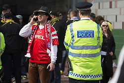 © licensed to London News Pictures. London, UK 25/05/2013. German football fans waiting around Webley Stadium after clashes between Borussia Dortmund and Bayern Munich fans reported ahead of Champions League final in London. Photo credit: Tolga Akmen/LNP