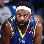 Delaware 87ers Guard BARON DAVIS (34) rest during a timeout in the second half of a NBA D-league regular season basketball game between the Delaware 87ers and the Iowa Energy Friday, Mar. 04, 2016. at The Bob Carpenter Sports Convocation Center in Newark, DEL.
