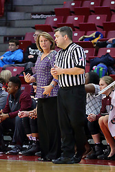 29 January 2017: Cindy Stein speaks with Todd Moistner during an College Missouri Valley Conference Women's Basketball game between Illinois State University Redbirds the Salukis of Southern Illinois at Redbird Arena in Normal Illinois.