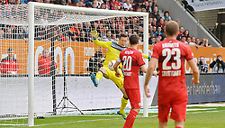 16.04.2016, WWK Arena, Augsburg, GER, 1. FBL, FC Augsburg vs VfB Stuttgart, 30. Runde, im Bild Torwartaktion mit v.l. Przemyslaw Tyton #22 (VfB Stuttgart), Christian Gentner #20 (VfB Stuttgart), Artem Kravets #23 (VfB Stuttgart) und Ragnar Klavan #5 (FC Augsburg) // during the German Bundesliga 30th round match between FC Augsburg and VfB Stuttgart at the WWK Arena in Augsburg, Germany on 2016/04/16. EXPA Pictures © 2016, PhotoCredit: EXPA/ Eibner-Pressefoto/ hierm<br /> <br /> *****ATTENTION - OUT of GER*****