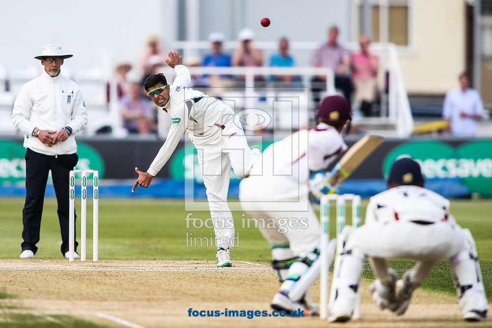Imran Qayyum of Kent in delivery stride during the Specsavers County C'ship Div Two match at the County Ground, Northampton<br /> Picture by Andy Kearns/Focus Images Ltd 0781 864 4264<br /> 16/05/2016