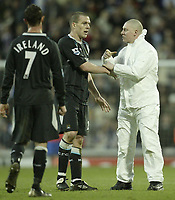 Photo: Aidan Ellis.<br /> Blackburn Rovers v Manchester City. The FA Cup. 11/03/2007.<br /> A City fan goes onto the pitch to talk to City's Richard Dunne