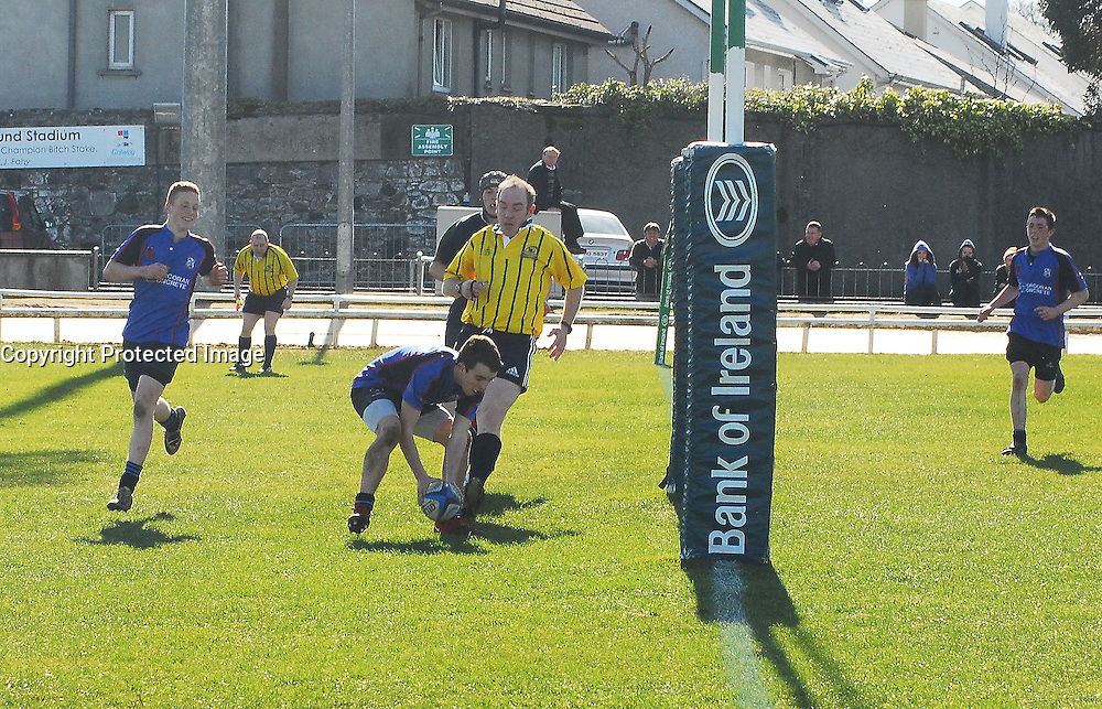 Connacht Schools junior cup final Ruairi Ludden scores Rice College's 1st try. ..Pic Conor McKeown