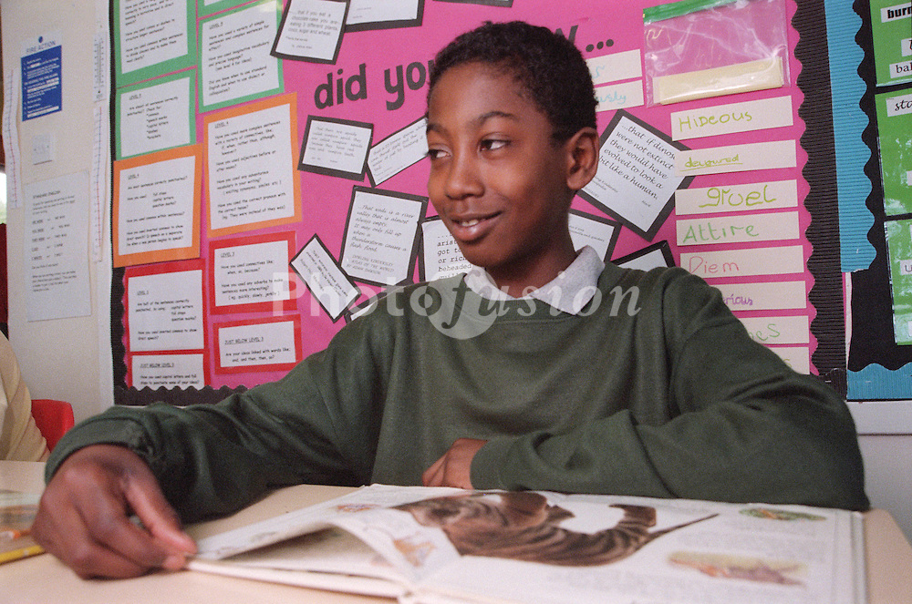 Primary school boy sitting at desk in classroom in front of educational book,