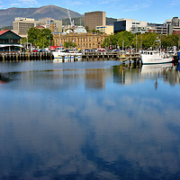 Victoria Dock along Franklin Wharf in Hobart, Australia<br />