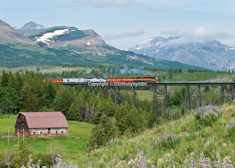 steam train two medicine bridge, east glacier national park, amtrak train glacier park