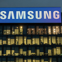 MILAN - NOV 8 -  Samsung Headquarters office building at night with  illuminated windows in Milan, Italy on November 8, 2018.