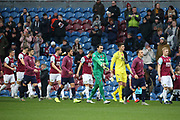 Teams come out for the Premier League match between Burnley and West Ham United at Turf Moor, Burnley, England on 9 November 2019.
