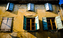Very typical French shuttered windows in a house on the Rue du Pont Vieux in the town of Carcassonne, France<br /> <br /> (c) Andrew Wilson   Edinburgh Elite media