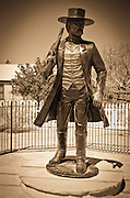 Wyatt Earp statue at the Wyatt Earp House, Tombstone, Arizona USA