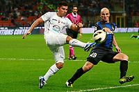 "David Pizarro Fiorentina Esteban Cambiasso Inter<br /> Milano 30/09/2012 Stadio ""San Siro""<br /> Football Calcio Serie A 2012/13<br /> Inter v Fiorentina<br /> Foto Insidefoto Paolo Nucci"