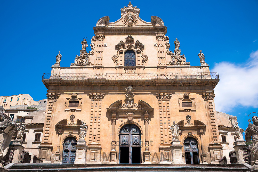 Front elevation of cathedral church Chiesa di San Pietro Apostolo church in ancient city Modica Bassa, Sicily