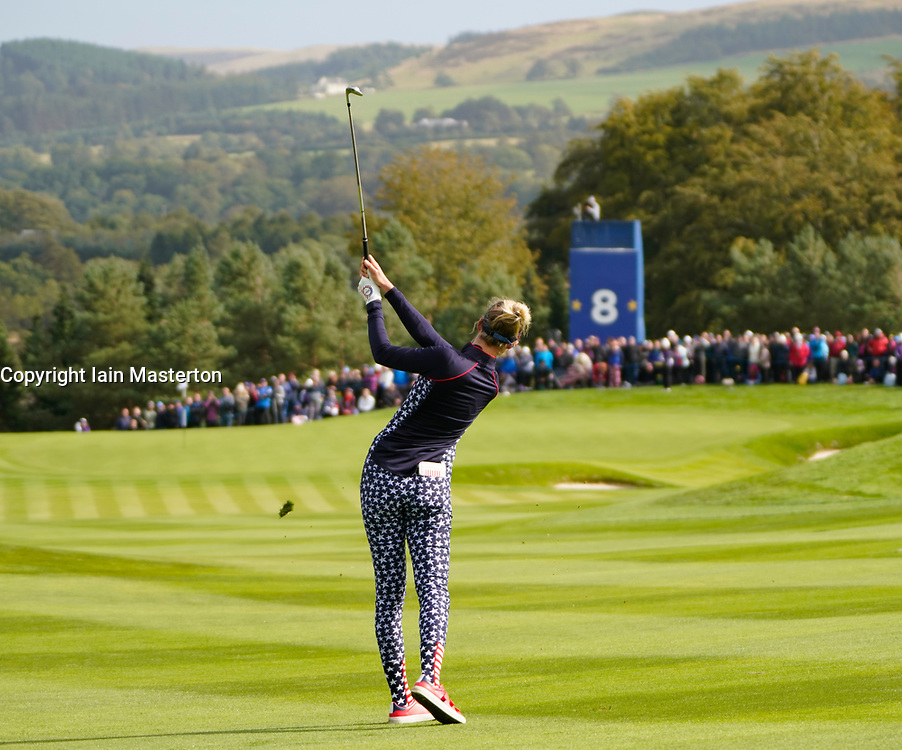 Auchterarder, Scotland, UK. 15 September 2019. Sunday Singles matches on final day  at 2019 Solheim Cup on Centenary Course at Gleneagles. Pictured;  Nelly Korda of Team USA plays approach to 8th green. Iain Masterton/Alamy Live News