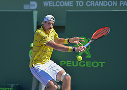 April 1, 2018 - Miami, FL, United States - KEY BISCAYNE, FL - APRIL 1: John Isner (USA) in action during his final round match at the Miami Open held at the Tennis Center at Crandon Park on April 1, 2018.   Credit: Andrew Patron/Zuma Wire (Credit Image: © Andrew Patron via ZUMA Wire)