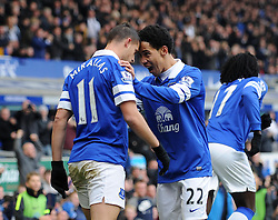 Everton's Kevin Mirallas celebrates his goal with Everton's Steven Pienaar - Photo mandatory by-line: Dougie Allward/JMP - Tel: Mobile: 07966 386802 23/11/2013 - SPORT - Football - Liverpool - Merseyside derby - Goodison Park - Everton v Liverpool - Barclays Premier League