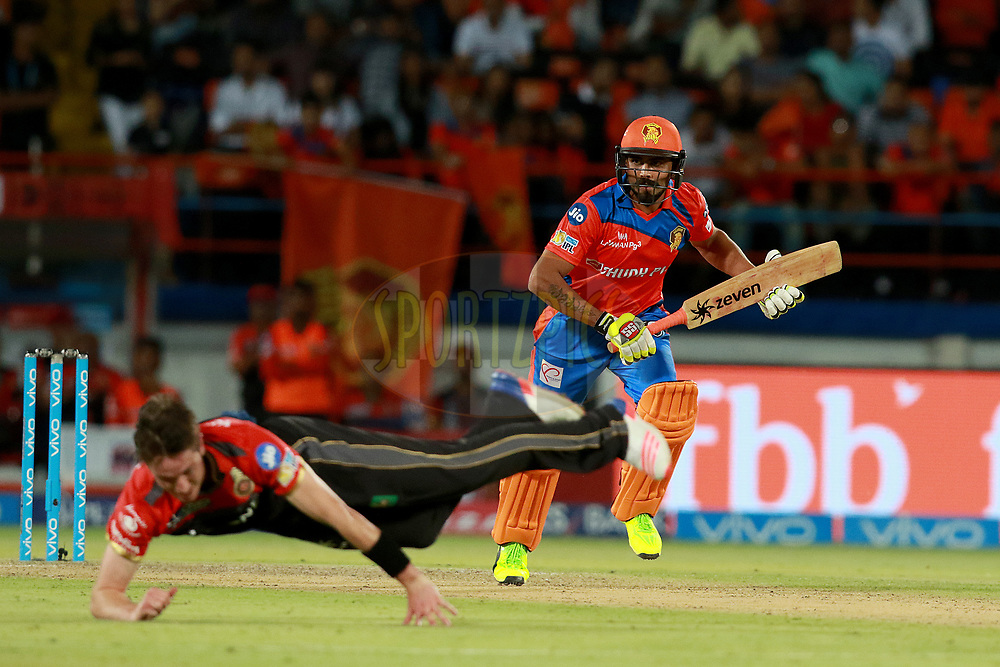Ravindra Jadeja of GL during match 20 of the Vivo 2017 Indian Premier League between the Gujarat Lions and the Royal Challengers Bangalore  held at the Saurashtra Cricket Association Stadium in Rajkot, India on the 18th April 2017<br /> <br /> Photo by Rahul Gulati - Sportzpics - IPL