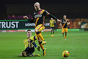 Oxford United midfielder Joshua Ruffels (14) makes a tackle on Bradford City midfielder Nicky Law (4) 0-0 during the EFL Trophy match between Oxford United and Bradford City at the Kassam Stadium, Oxford, England on 31 January 2017. Photo by Alan Franklin.