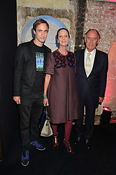 Left to right, ALEXANDER KIRKWOOD and JOHN & WENDY KIRKWOOD parents of Nicholas Kirkwood at a party to celebrate 10 years of footware designer Nicholas Kirkwood held at 9 Adam Street, London on 19th September 2015.
