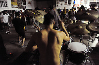 """Aethere's drummer is stripped down for action during """"Nightmare on Alisal Street,"""" a boisterous five-band metal show put on by independent Salinas organizers on Saturday, October 19th at Rock Boxing Gym."""