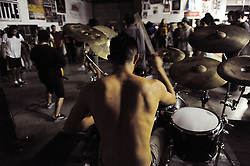 "Aethere's drummer is stripped down for action during ""Nightmare on Alisal Street,"" a boisterous five-band metal show put on by independent Salinas organizers on Saturday, October 19th at Rock Boxing Gym."