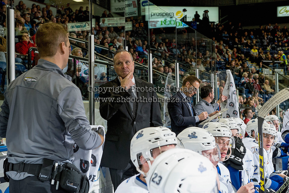 KELOWNA, CANADA - OCTOBER 26: Victoria Royals' head coach Dave Lowry stands on the bench against the Kelowna Rockets on October 26, 2016 at Prospera Place in Kelowna, British Columbia, Canada.  (Photo by Marissa Baecker/Shoot the Breeze)  *** Local Caption ***