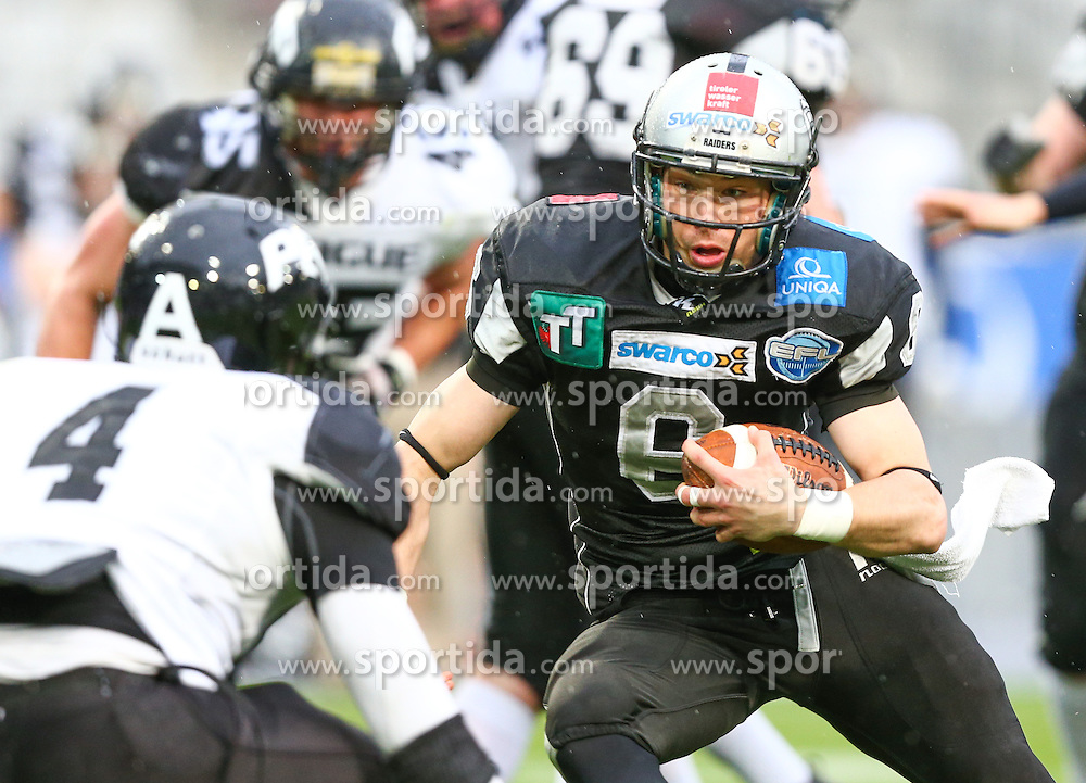 04.05.2013, Tivoli Stadion, Innsbruck, AUT, AFL, Swarco Raiders Tirol vs Prag Black Panthers, im Bild  Andre Whyte, (Prague Black Panthers, DB, #4) und Julian Schoepf, (SWARCO Raiders Tirol, DB, #8)  // during the Austrian Football League Game between Swarco Raiders Tirol and Prague Black Panthers at the Tivoli Stadion, Innsbruck, Austria on 2013/05/04. EXPA Pictures © 2013, PhotoCredit: EXPA/ Thomas Haumer