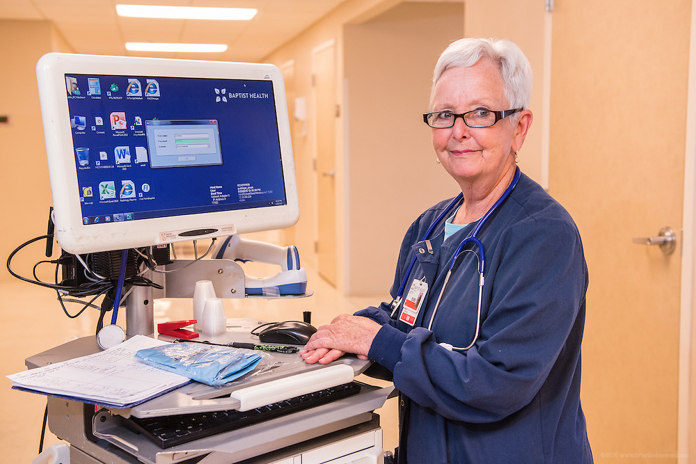 Betty Perry, RN, photographed Wednesday, May 20, 2015, at Baptist Health in Richmond, Ky. (Photo by Brian Bohannon/Videobred for Baptist Health)