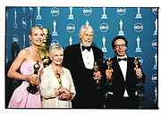 Gwyneth Paltrow, Dame Judi Dench, James Coburn and Roberto Benigni display their Academy Awards.  Press room.  Hollywood, California.<br /> <br /> Photo by German Silva for Berliner Studio.  Copyrighted.
