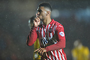 Jamie Reid celebrtes scoring the equalising goal during the Sky Bet League 2 match between Exeter City and Bristol Rovers at St James' Park, Exeter, England on 28 November 2015. Photo by Graham Hunt.