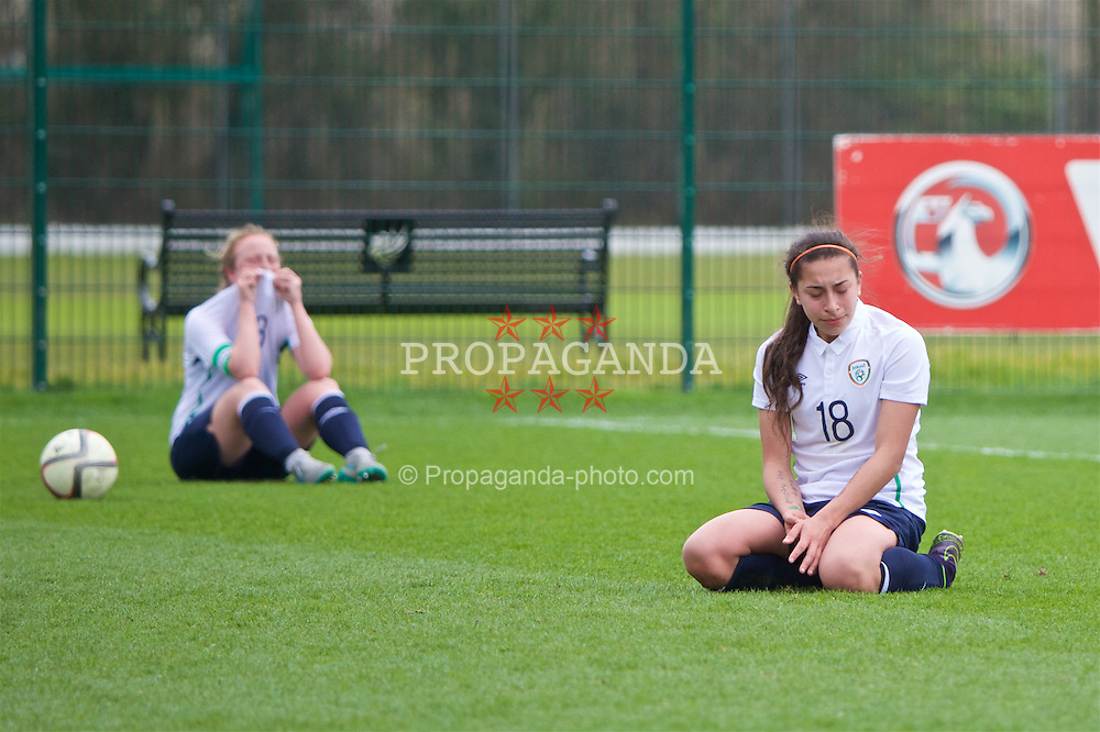 NEWPORT, WALES - Monday, April 4, 2016: Republic of Ireland's Lucia Lobato looks dejected as they lose 1-0 to England during the Final on day four of the Bob Docherty International Tournament 2016 at Dragon Park. (Pic by David Rawcliffe/Propaganda)