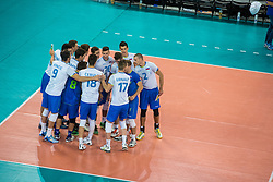 Players of Slovenia during friendly volleyball match between national teams of Slovenia and Brasil in Arena Stozice on 9. September 2015 in , Ljubljana, Slovenia. Photo by Grega Valancic / Sportida
