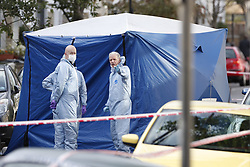 © Licensed to London News Pictures. 15/08/2019. London, UK. The scene at Corrance Road in south London where a murder investigation has been launched after an 18-year-old man was found with fatal stab injuries. A 17-year-old boy was arrested on suspicion of murder at 14.23hrs in Tremadoc Road. He has been taken into custody. Photo credit: Peter Macdiarmid/LNP