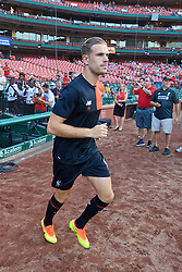 ST. LOUIS, USA - Monday, August 1, 2016: Liverpool's captain Jordan Henderson runs out for a warm-up before a pre-season friendly game against AS Roma on day twelve of the club's USA Pre-season Tour at the Busch Stadium. (Pic by David Rawcliffe/Propaganda)