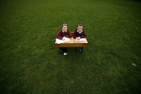 Pupils Ailbhe Hardiman and Jack O Meara  of the National school in Kilimor, Co. Galway, in the place where their school should be.   .  Photo:Andrew Downes