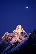 Moonrise above Ama Dablam, one of the most beautiful peaks of the Himalaya