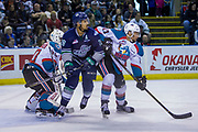 KELOWNA, CANADA - APRIL 30:  Michael Herringer #30 of the Kelowna Rockets, Devante Stephens #21 of the Kelowna Rockets, Keegan Kolesar #28 of the Seattle Thunderbirds at the Kelowna Rockets game on April 30, 2017 at Prospera Place in Kelowna, British Columbia, Canada.  (Photo By Cindy Rogers/Nyasa Photography,  *** Local Caption ***