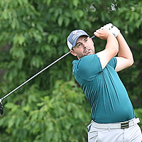 Sherman's Ryan Swanson watches his drive from the eight tie during the LeComm Health Challenge Web.com tour at Peek n Peak Photo by Mark L. Anderson