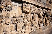 Carvings in Borobudur Temple in Java (Indonesia)