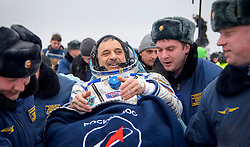 KAZAKHSTAN Near Zhezkazgan -- 02 Mar 2016 -- Scott Kelly and Mikhail Kornienko (pictured) return to Earth after a record 340 days in space.The Soyuz TMA-18M spacecraft is seen as it lands with Expedition 46 Commander Scott Kelly of NASA and Russian cosmonauts Mikhail Kornienko and Sergey Volkov of Roscosmos near the town of Zhezkazgan, Kazakhstan on Wednesday, March 2, 2016 (Kazakh time). Kelly and Kornienko completed an International Space Station record year-long mission to collect valuable data on the effect of long duration weightlessness on the human body that will be used to formulate a human mission to Mars. Volkov returned after spending six months on the station. EXPA Pictures © 2016, PhotoCredit: EXPA/ Photoshot/ Bill Ingalls/Atlas Photo Archive<br /><br />*****ATTENTION - for AUT, SLO, CRO, SRB, BIH, MAZ only*****