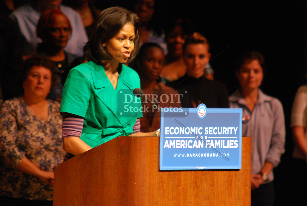 Michelle Obama speaks about economic security to supporters at Chippewa Valley High School in Sterling Heights, MI on Thursday, October 2, 2008.