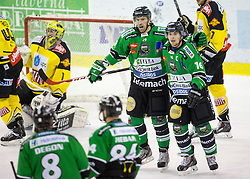 11.01.2015, Hala Tivoli, Ljubljana, SLO, EBEL, HDD Telemach Olimpija Ljubljana vs UPC Vienna Capitals, 38. Runde, in picture Anze Ropret (HDD Telemach Olimpija, #29) and Ales Music (HDD Telemach Olimpija, #16) during the Erste Bank Icehockey League 38. Round between HDD Telemach Olimpija Ljubljana and UPC Vienna Capitals at the Hala Tivoli, Ljubljana, Slovenia on 2015/01/11. Photo by Morgan Kristan / Sportida